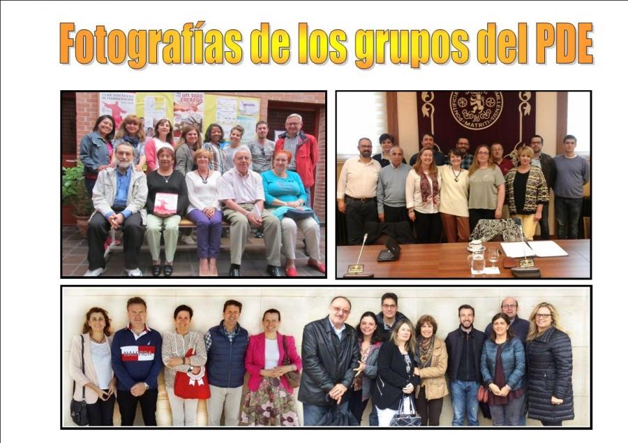 Fotografías y listado de grupos inscritos en el PDE